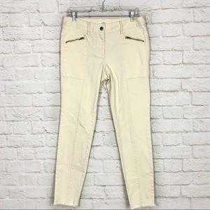 LOFT Ann Taylor Cream Zippered Raw Hem Ankle Jeans